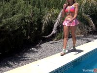 Had To Watch Her Posing And Teasing For A Planned Photoshoot, Then Pull Myself Together When She Asked To Be Fucked. All It Took In The End Was Her Tongue – But Isn't She Gorgeous In That Las Vegas Glitter Bikini?