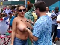 Latina Is Having Her Huge Breasts Painted