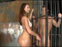 Teased And Used Through The Bars Of His Cell