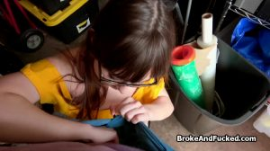 Brunette Teen Tries To Suck A Huge Dick For Money