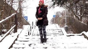 Desperate Pee On The Snowy Stairs
