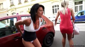 Happy And Embarrassed Milf Pissing In The Street