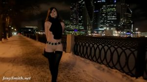 Jeny Smith Naked In Snow Fall Walking Through The City