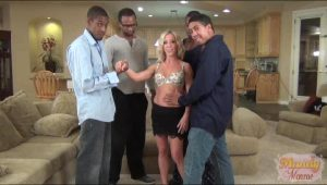 MILF Welcomes A Squad To Her Living Room