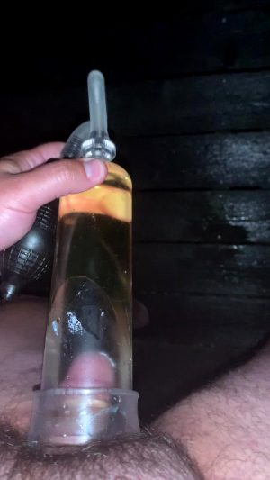 Pissing Into An Cock Pump