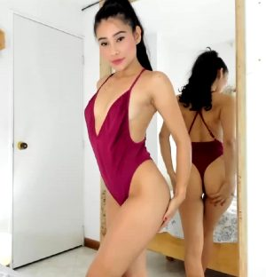 Sexy One Piece In Front Of Mirror