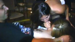She Finishes Him While Her Friend Sucks His Balls