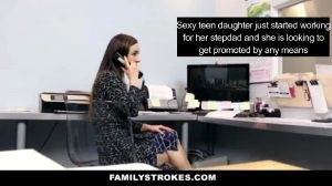 Small Teen Daughter Is Lucky To Work Under Her Stepdad Because She Knows Exactly What Do To To Get That Job Promotion