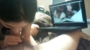 Wife Blows Him While He Watches A Video Of Her Blowing Him