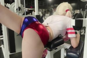 Amouranth Working Out At The Gym As Harley Quinn