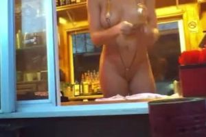 Bikini Barista Flashes Her Tits And Pussy To A Customer At The Drive Through.