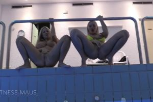 Blondes Peeing Into The Pool