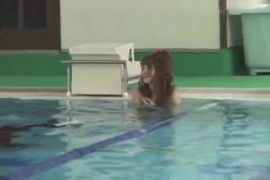 Japanese Girl With Dissolving Swimsuit Singled Out By A Pool Clearing