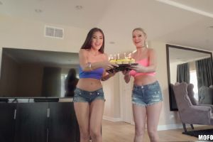 Kenzie Taylor And Kendra Blowong Out The Candles