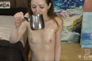 Nicolremy Drinks Milk And Then Fucks Her Throat With A Dildo To Puke