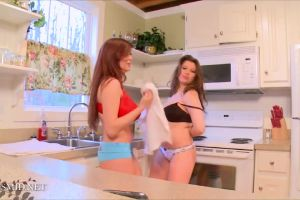 Tessa Fowler And Her Sister Having Fun In The Kitchen