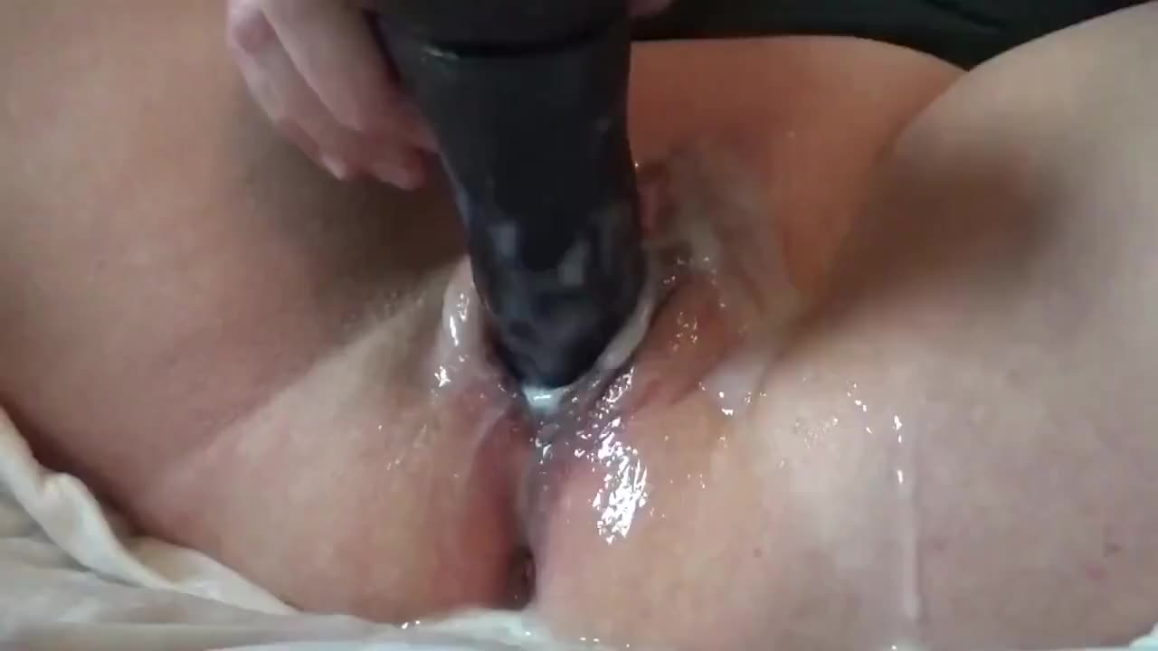 Long Dildo Masturbation Session, Wet Creamy Pussy And Ass Fuck, Solo Girl Orgasm
